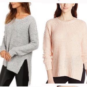 BCBGeneration pink high low waffle knit sweater